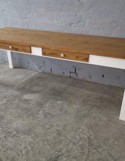 250 egyenes feher asztal mivesbutor 2 - Felújított Míves Bútorok