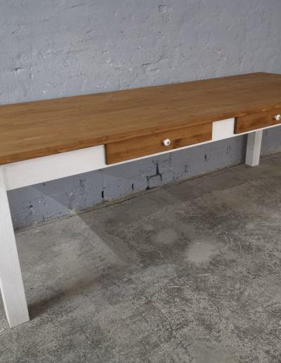 250 egyenes feher asztal mivesbutor 3 - Felújított Míves Bútorok