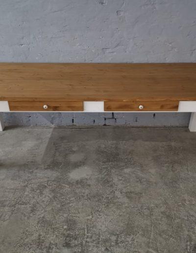 250 egyenes feher asztal mivesbutor 5 - Felújított Míves Bútorok
